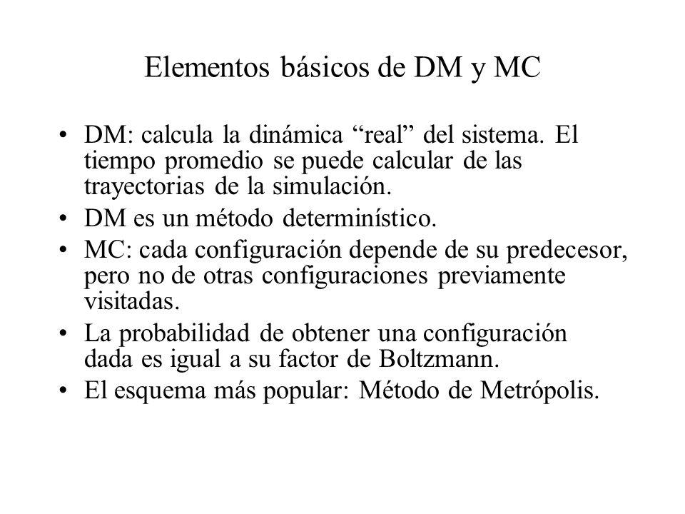 Elementos básicos de DM y MC DM: calcula la dinámica real del sistema. El tiempo promedio se puede calcular de las trayectorias de la simulación. DM e