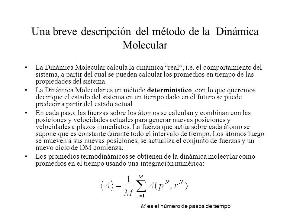 Una breve descripción del método de la Dinámica Molecular La Dinámica Molecular calcula la dinámica real, i.e. el comportamiento del sistema, a partir