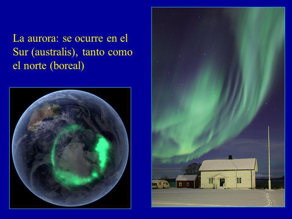 La aurora: se ocurre en el Sur (australis), tanto como el norte (boreal)