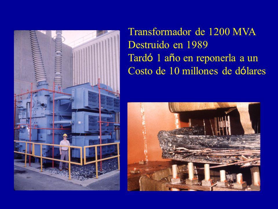 Transformador de 1200 MVA Destruido en 1989 Tard ó 1 a ñ o en reponerla a un Costo de 10 millones de d ó lares