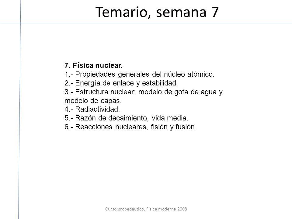 Curso propedéutico, Física moderna 2008 3.- Estructura nuclear: modelo de gota de agua y modelo de capas.