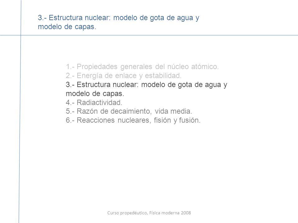 Curso propedéutico, Física moderna 2008 Las energías de enlace nuclear se incrementan como función de A, llegan a un máximo con el nucleo de Fe ( Hierro, y decrece a partir de ahí.