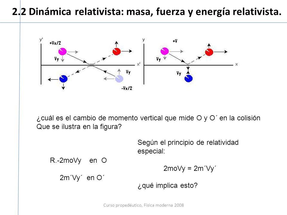 2.2 Dinámica relativista: masa, fuerza y energía relativista. Curso propedéutico, Física moderna 2008 ¿cuál es el cambio de momento vertical que mide