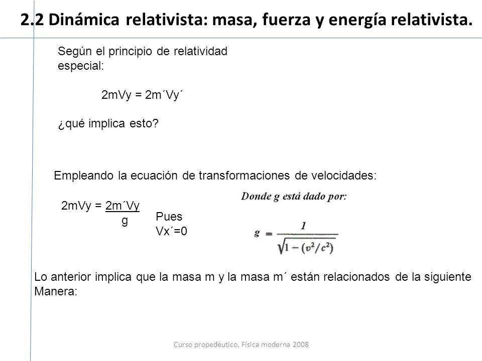 2.2 Dinámica relativista: masa, fuerza y energía relativista. Curso propedéutico, Física moderna 2008 Según el principio de relatividad especial: 2mVy