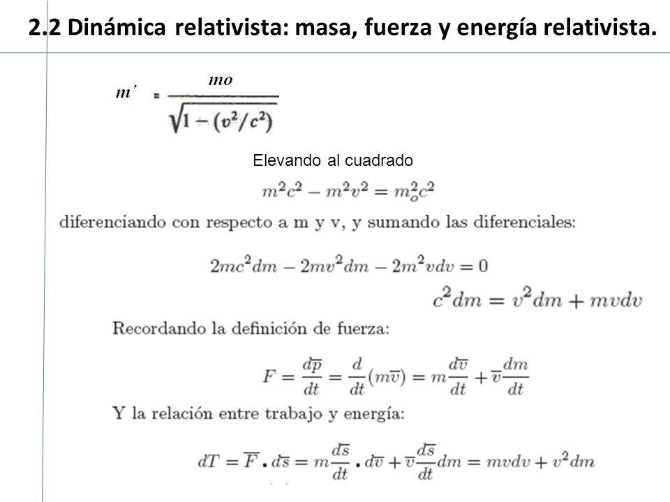 2.2 Dinámica relativista: masa, fuerza y energía relativista. Curso propedéutico, Física moderna 2008 Elevando al cuadrado