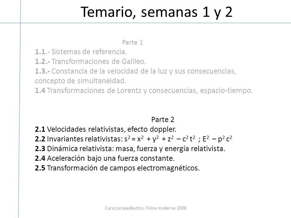 Temario, semanas 1 y 2 Curso propedéutico, Física moderna 2008 Parte 1 1.1.- Sistemas de referencia. 1.2.- Transformaciones de Galileo. 1.3.- Constanc