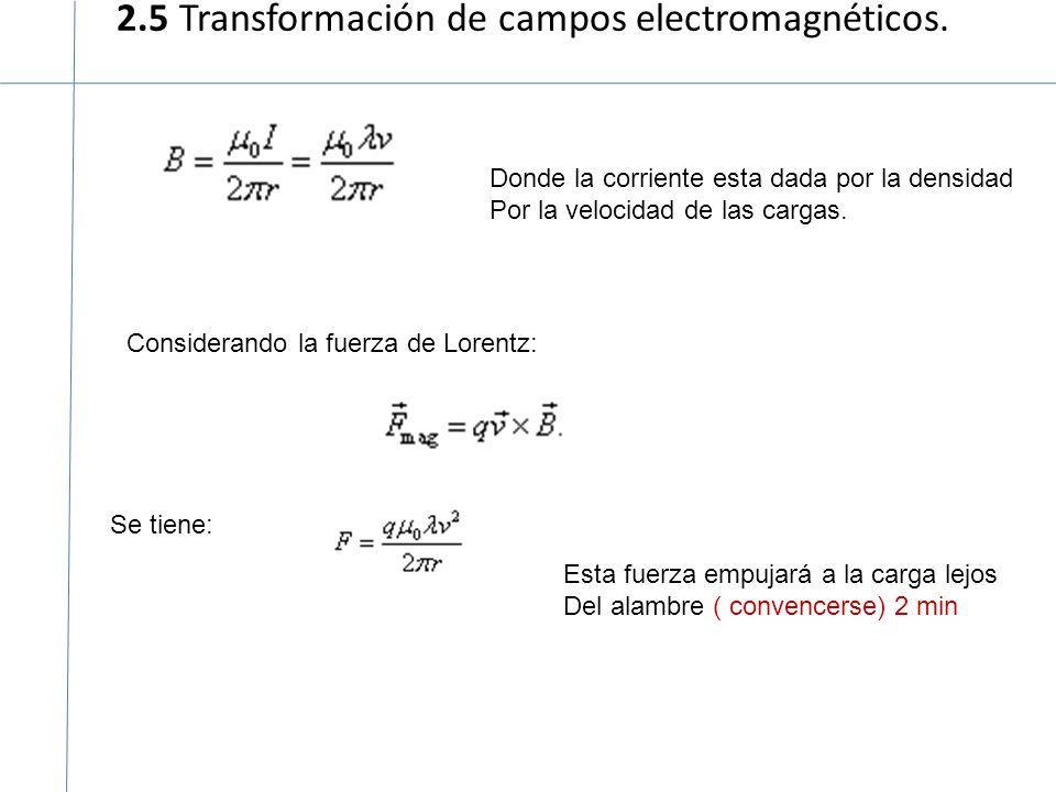 2.5 Transformación de campos electromagnéticos. Donde la corriente esta dada por la densidad Por la velocidad de las cargas. Considerando la fuerza de