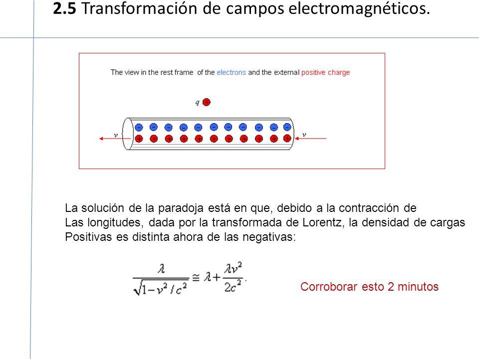 2.5 Transformación de campos electromagnéticos. La solución de la paradoja está en que, debido a la contracción de Las longitudes, dada por la transfo