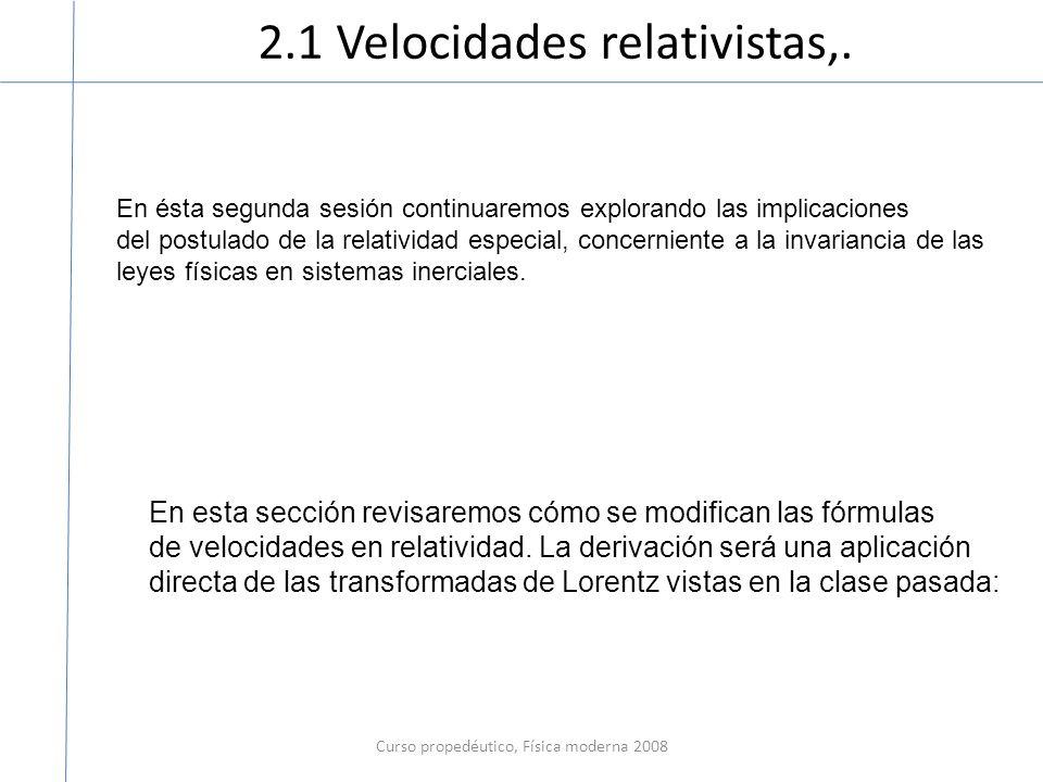 2.1 Velocidades relativistas,. Curso propedéutico, Física moderna 2008 En ésta segunda sesión continuaremos explorando las implicaciones del postulado