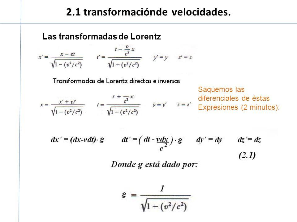 2.1 transformaciónde velocidades. Las transformadas de Lorentz Saquemos las diferenciales de éstas Expresiones (2 minutos):