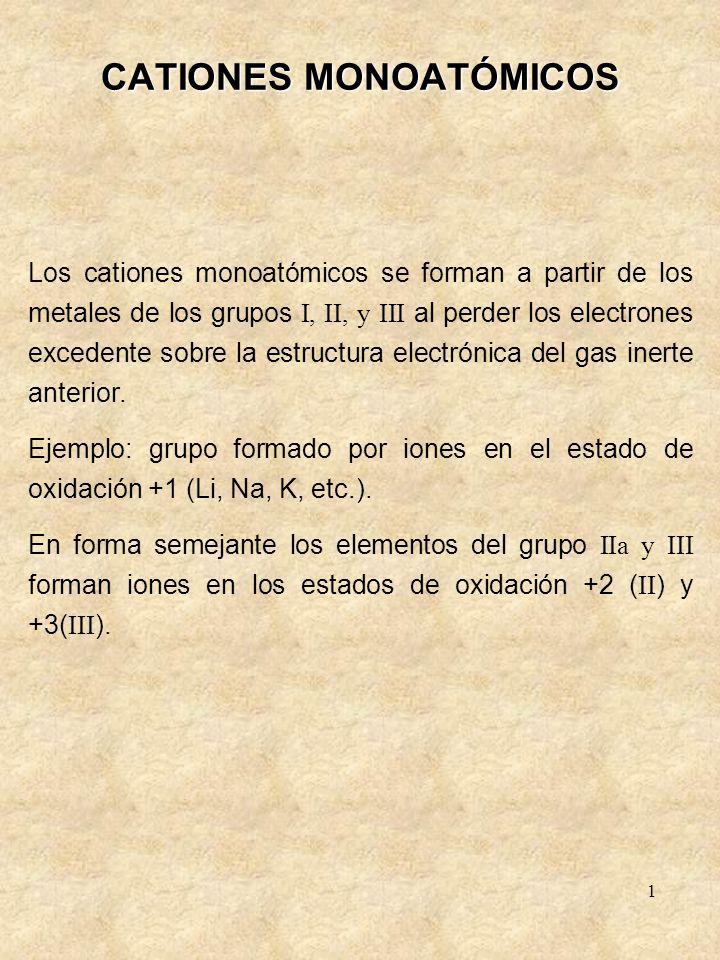 1 CATIONES MONOATÓMICOS Los cationes monoatómicos se forman a partir de los metales de los grupos I, II, y III al perder los electrones excedente sobr