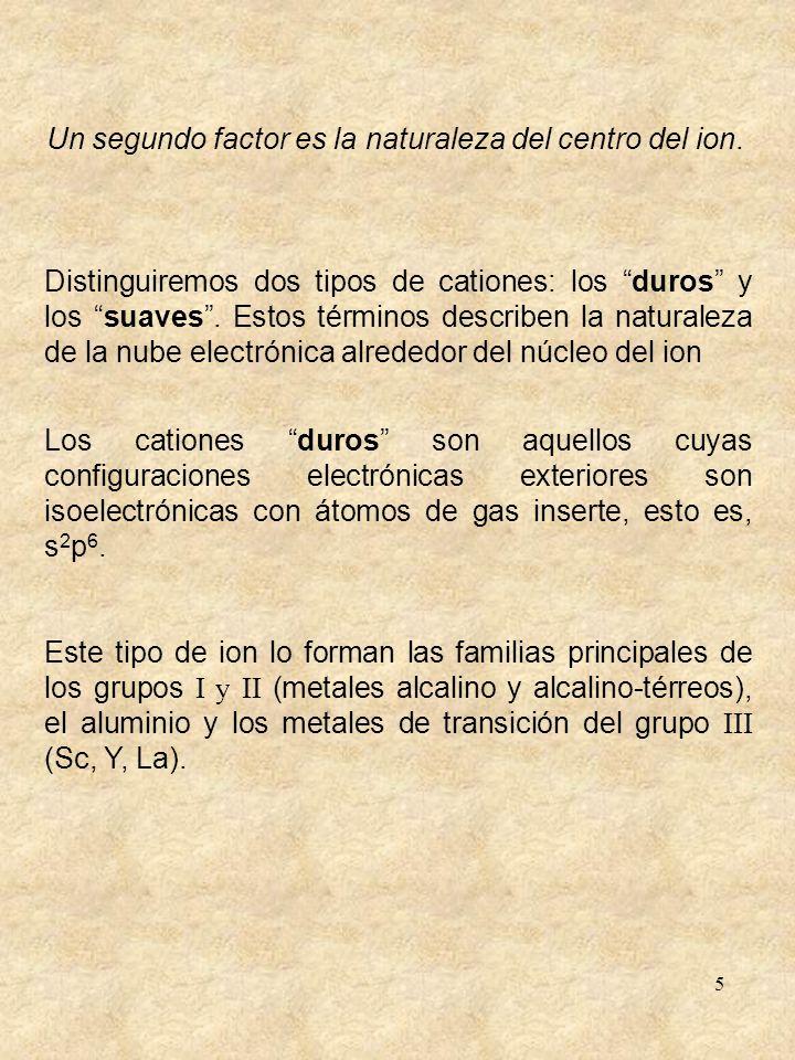 5 Distinguiremos dos tipos de cationes: los duros y los suaves. Estos términos describen la naturaleza de la nube electrónica alrededor del núcleo del