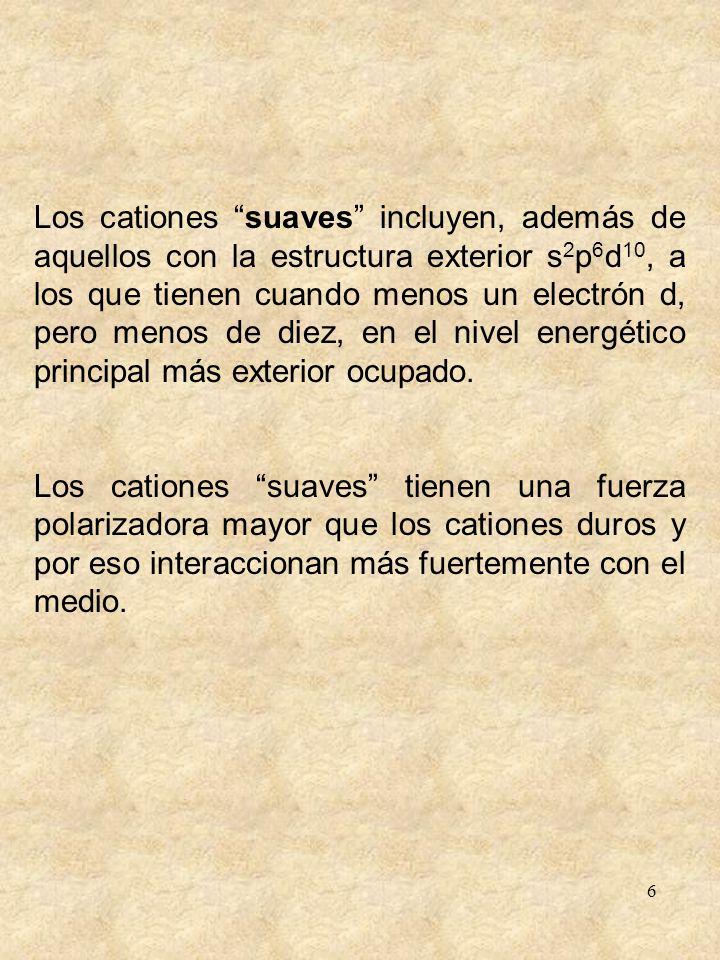 6 Los cationes suaves incluyen, además de aquellos con la estructura exterior s 2 p 6 d 10, a los que tienen cuando menos un electrón d, pero menos de