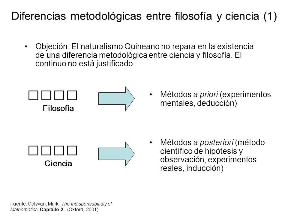 Diferencias metodológicas entre filosofía y ciencia (1) Objeción: El naturalismo Quineano no repara en la existencia de una diferencia metodológica en