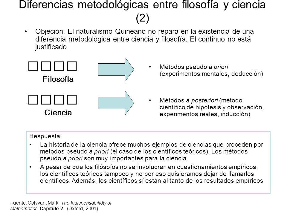 Diferencias metodológicas entre filosofía y ciencia (2) Objeción: El naturalismo Quineano no repara en la existencia de una diferencia metodológica en