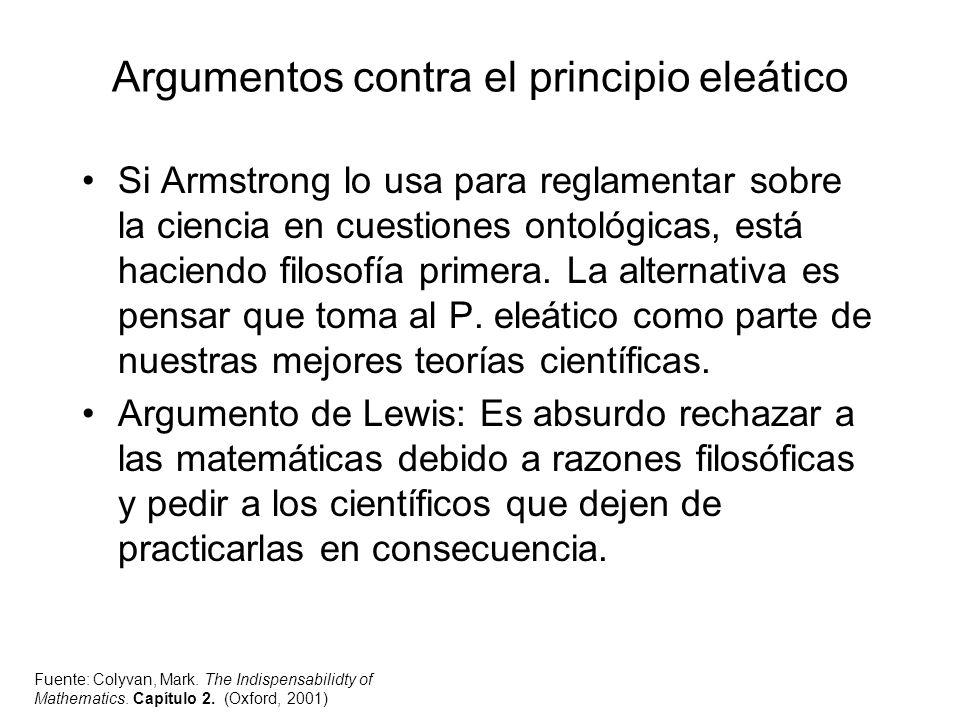 Argumentos contra el principio eleático Si Armstrong lo usa para reglamentar sobre la ciencia en cuestiones ontológicas, está haciendo filosofía prime