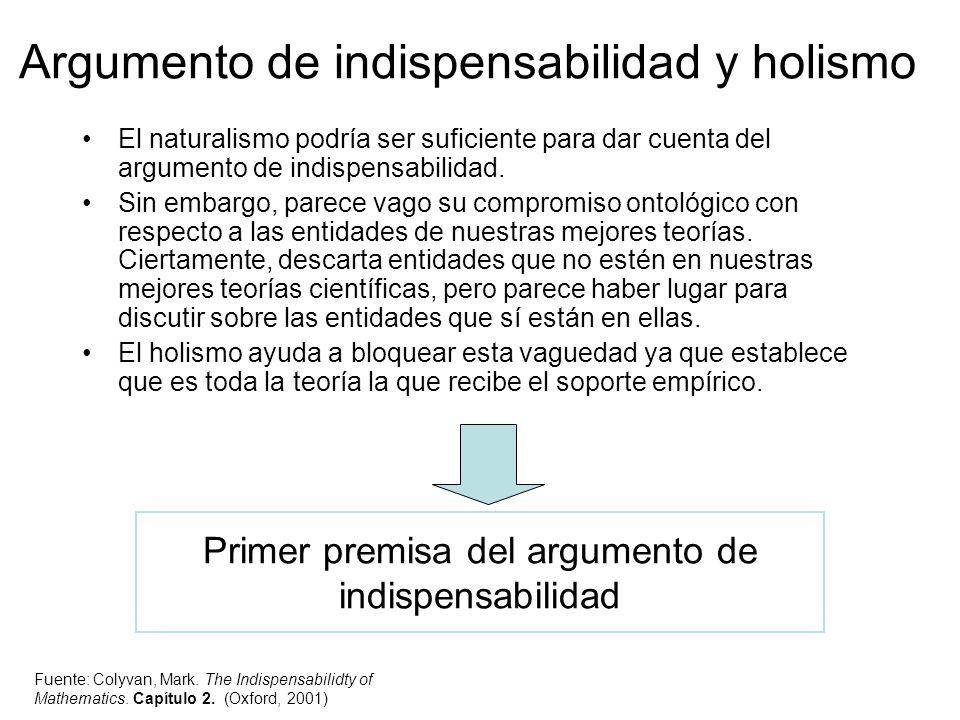Argumento de indispensabilidad y holismo El naturalismo podría ser suficiente para dar cuenta del argumento de indispensabilidad. Sin embargo, parece