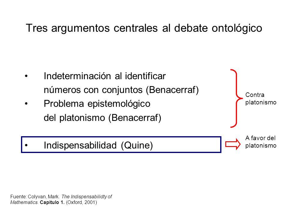 Indeterminación al identificar números con conjuntos (Benacerraf) Problema epistemológico del platonismo (Benacerraf) Indispensabilidad (Quine) Contra