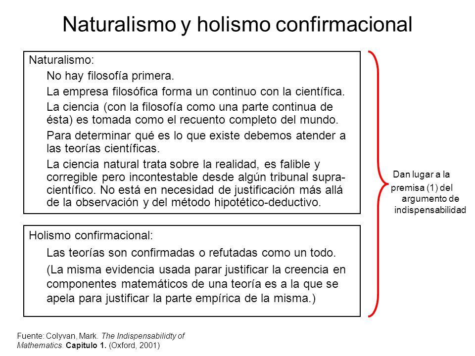 Naturalismo y holismo confirmacional Naturalismo: No hay filosofía primera. La empresa filosófica forma un continuo con la científica. La ciencia (con