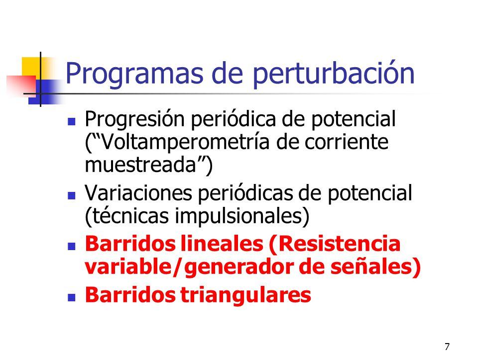 7 Programas de perturbación Progresión periódica de potencial (Voltamperometría de corriente muestreada) Variaciones periódicas de potencial (técnicas