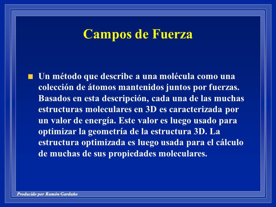 Producido por Ramón Garduño Campos de Fuerza Un método que describe a una molécula como una colección de átomos mantenidos juntos por fuerzas.