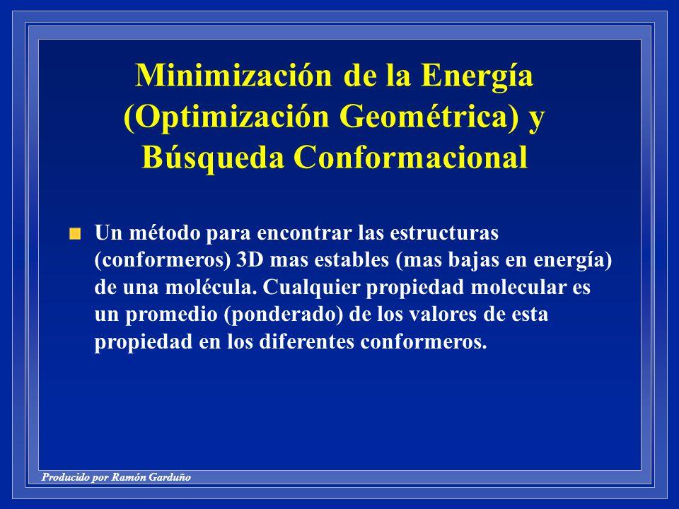 Producido por Ramón Garduño Minimización de la Energía (Optimización Geométrica) y Búsqueda Conformacional Un método para encontrar las estructuras (conformeros) 3D mas estables (mas bajas en energía) de una molécula.