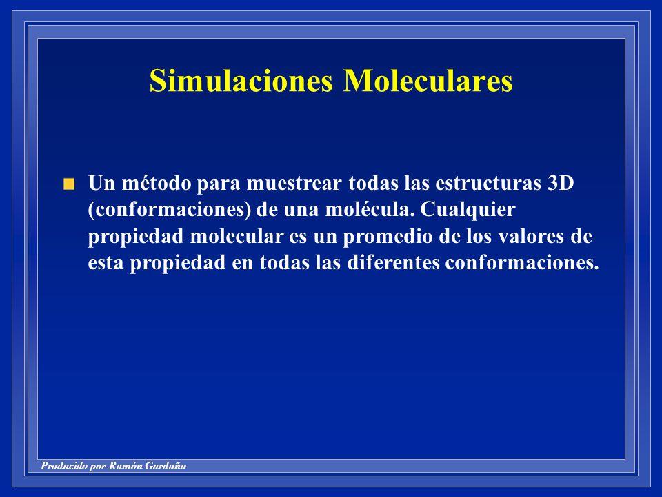 Producido por Ramón Garduño Simulaciones Moleculares Un método para muestrear todas las estructuras 3D (conformaciones) de una molécula.