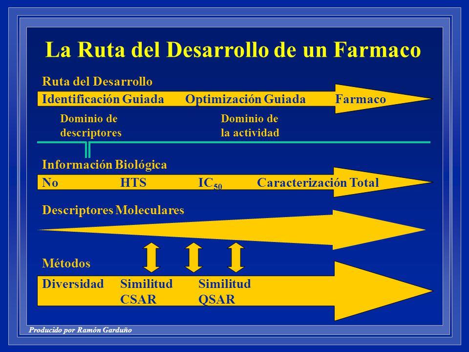 Producido por Ramón Garduño Identificación Guiada Optimización GuiadaFarmaco Ruta del Desarrollo NoHTSIC 50 Caracterización Total Información Biológica Descriptores Moleculares DiversidadSimilitudSimilitud CSARQSAR Métodos Dominio de la actividad Dominio de descriptores La Ruta del Desarrollo de un Farmaco