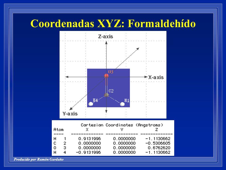Producido por Ramón Garduño Coordenadas XYZ: Formaldehído