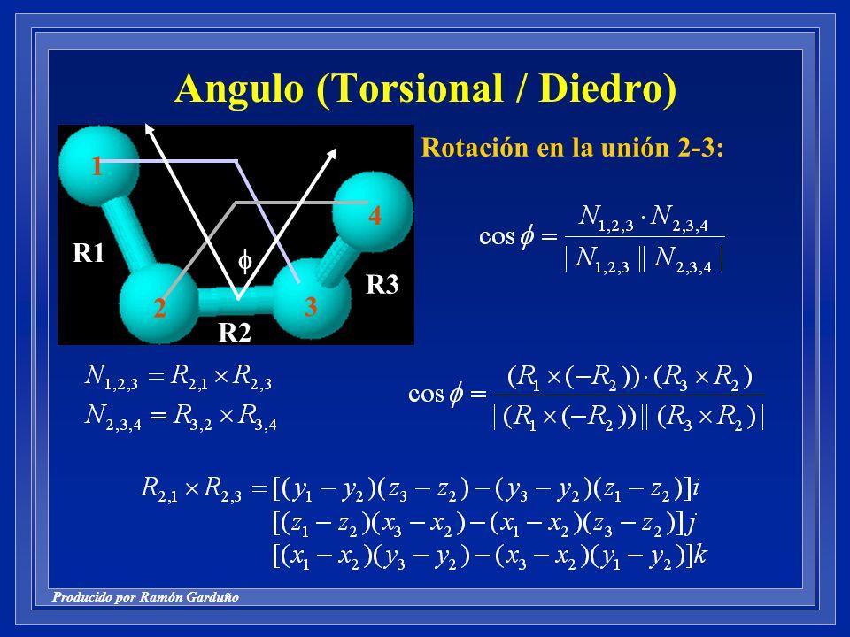 Producido por Ramón Garduño 2 1 3 4 R1 R3 R2 Angulo (Torsional / Diedro) Rotación en la unión 2-3: