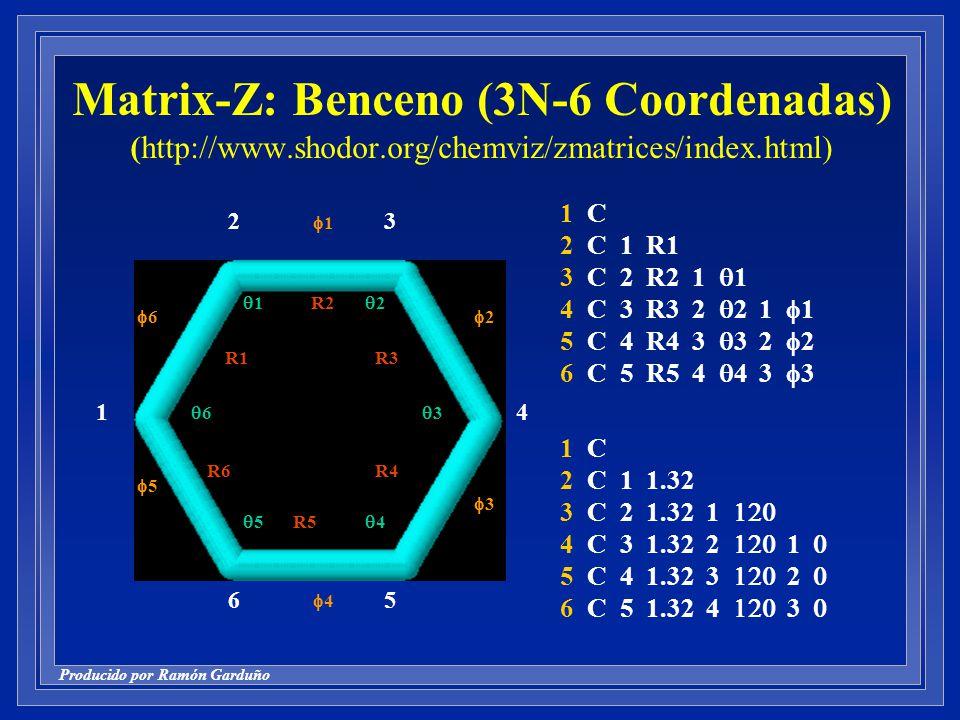 Producido por Ramón Garduño Matrix-Z: Benceno (3N-6 Coordenadas) (http://www.shodor.org/chemviz/zmatrices/index.html) 1 C 2 C 1 1.32 3 C 2 1.32 1 4 C 3 1.32 2 1 5 C 4 1.32 3 2 6 C 5 1.32 4 3 1 C 2 C 1 R1 3 C 2 R2 1 1 4 C 3 R3 2 2 1 1 5 C 4 R4 3 3 2 2 6 C 5 R5 4 4 3 3 3 4 56 2 1 R1 R2 R3 R5 R4R6 6 1 2 3 4 5 6 1 2 3 4 5