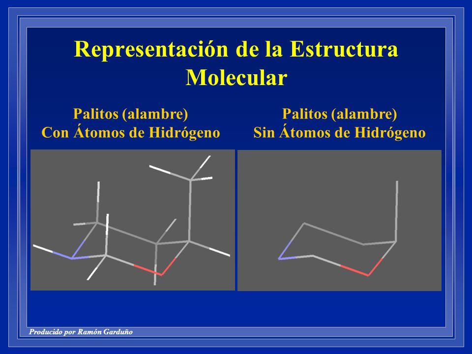 Producido por Ramón Garduño Representación de la Estructura Molecular Palitos (alambre) Con Átomos de Hidrógeno Palitos (alambre) Sin Átomos de Hidrógeno