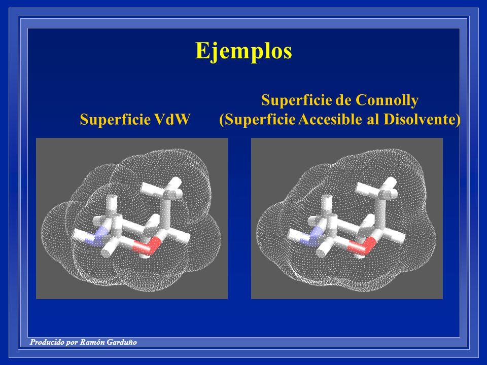 Producido por Ramón Garduño Ejemplos Superficie VdW Superficie de Connolly (Superficie Accesible al Disolvente)
