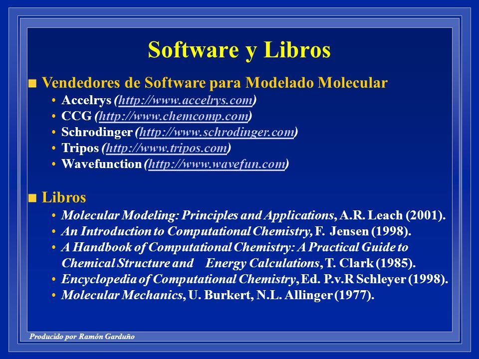 Producido por Ramón Garduño Software y Libros Vendedores de Software para Modelado Molecular Accelrys (http://www.accelrys.com)http://www.accelrys.com CCG (http://www.chemcomp.com)http://www.chemcomp.com Schrodinger (http://www.schrodinger.com)http://www.schrodinger.com Tripos (http://www.tripos.com)http://www.tripos.com Wavefunction (http://www.wavefun.com)http://www.wavefun.com Libros Molecular Modeling: Principles and Applications, A.R.