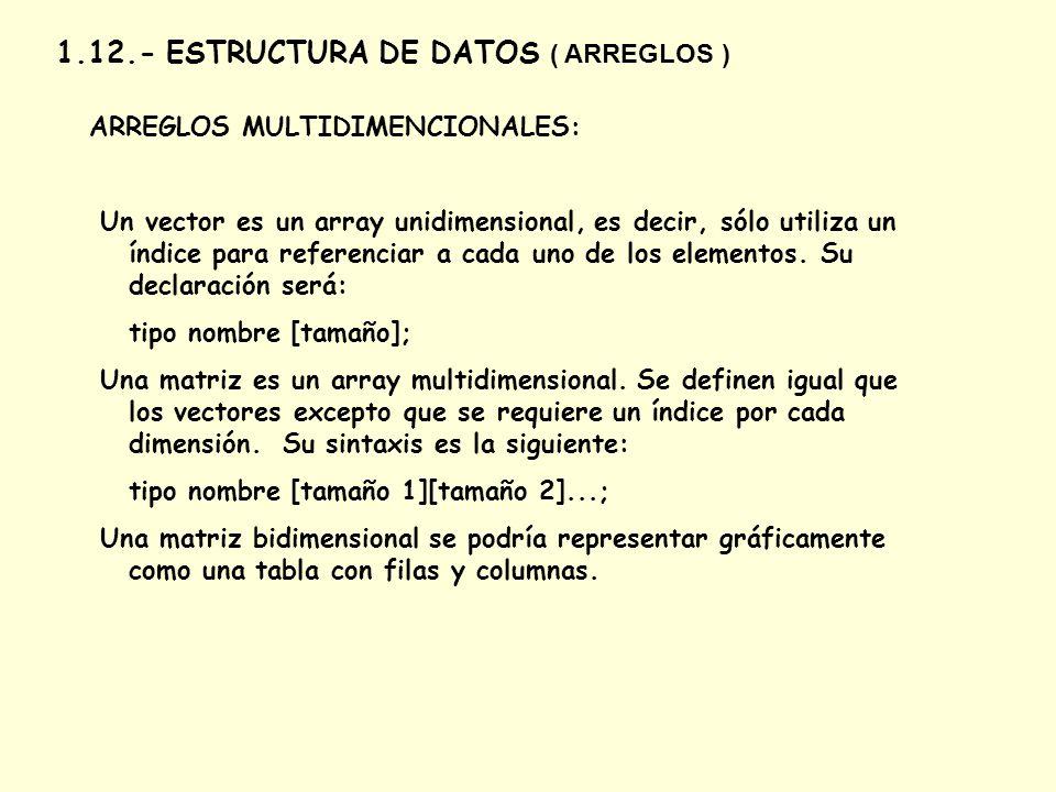 1.12.- ESTRUCTURA DE DATOS ( ARREGLOS ) ARREGLOS MULTIDIMENCIONALES: Un vector es un array unidimensional, es decir, sólo utiliza un índice para refer