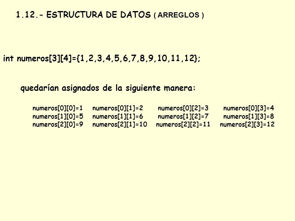 1.12.- ESTRUCTURA DE DATOS ( ARREGLOS ) int numeros[3][4]={1,2,3,4,5,6,7,8,9,10,11,12}; quedarían asignados de la siguiente manera: numeros[0][0]=1 nu
