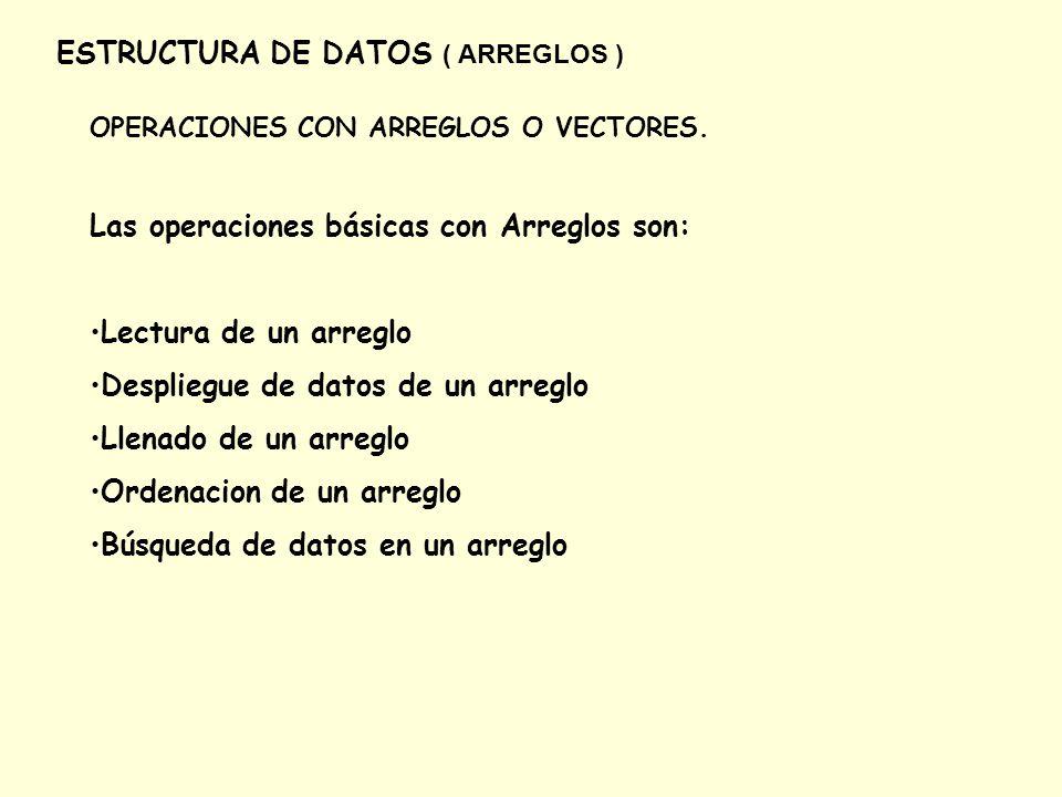ESTRUCTURA DE DATOS ( ARREGLOS ) LLENADO/LECTURA DE UN ARREGLO Pseudocodigo: Dame los 10 datos .
