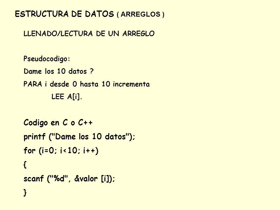 ESTRUCTURA DE DATOS ( ARREGLOS ) LLENADO/LECTURA DE UN ARREGLO Pseudocodigo: Dame los 10 datos ? PARA i desde 0 hasta 10 incrementa LEE A[i]. Codigo e