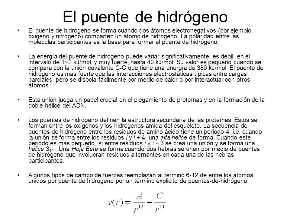 El puente de hidrógeno El puente de hidrógeno se forma cuando dos átomos electronegativos (por ejemplo oxigeno y nitrógeno) comparten un átomo de hidr