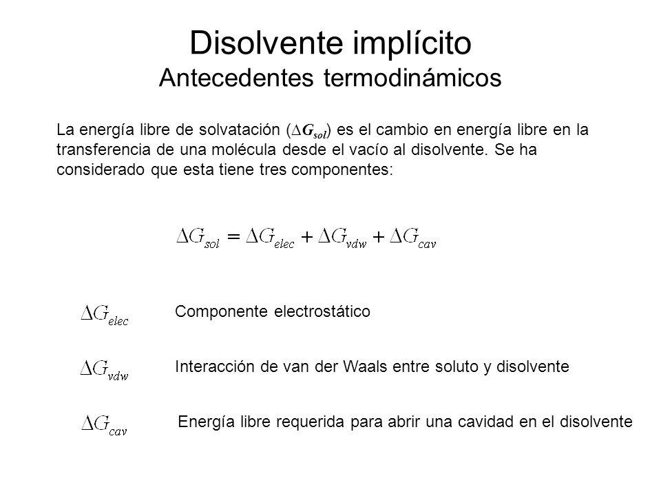 Disolvente implícito Antecedentes termodinámicos La energía libre de solvatación ( G sol ) es el cambio en energía libre en la transferencia de una mo