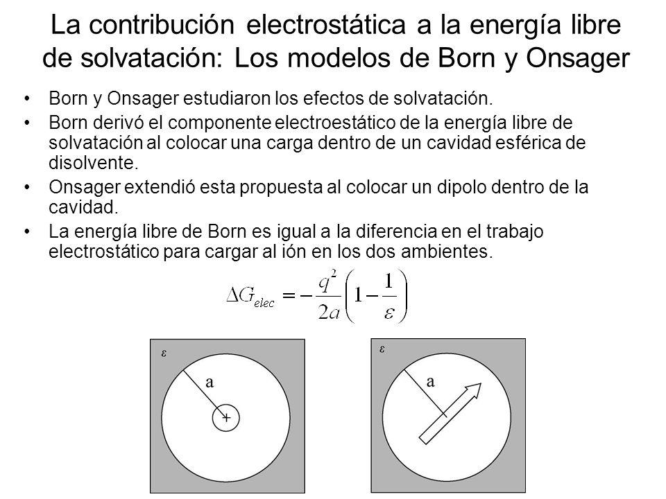 La contribución electrostática a la energía libre de solvatación: Los modelos de Born y Onsager Born y Onsager estudiaron los efectos de solvatación.