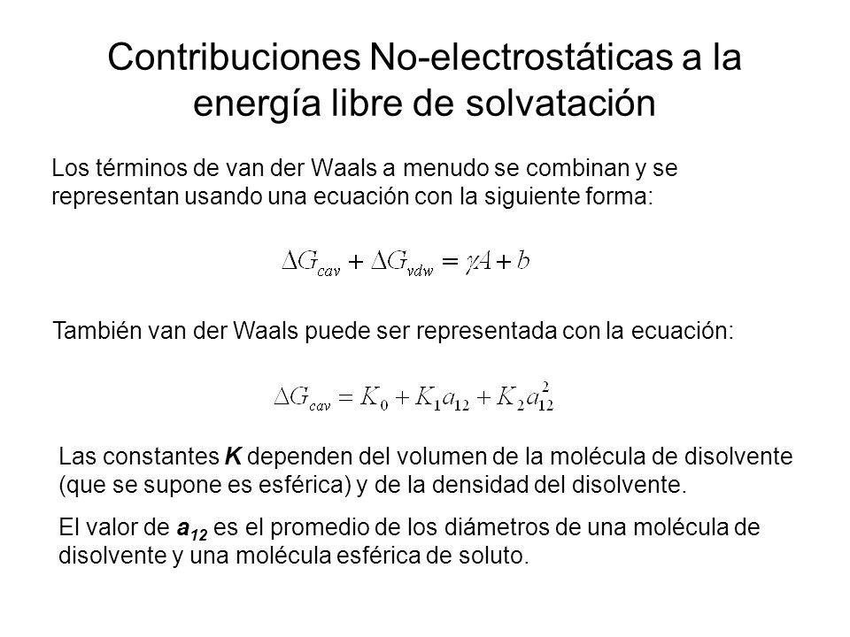 Contribuciones No-electrostáticas a la energía libre de solvatación Los términos de van der Waals a menudo se combinan y se representan usando una ecu