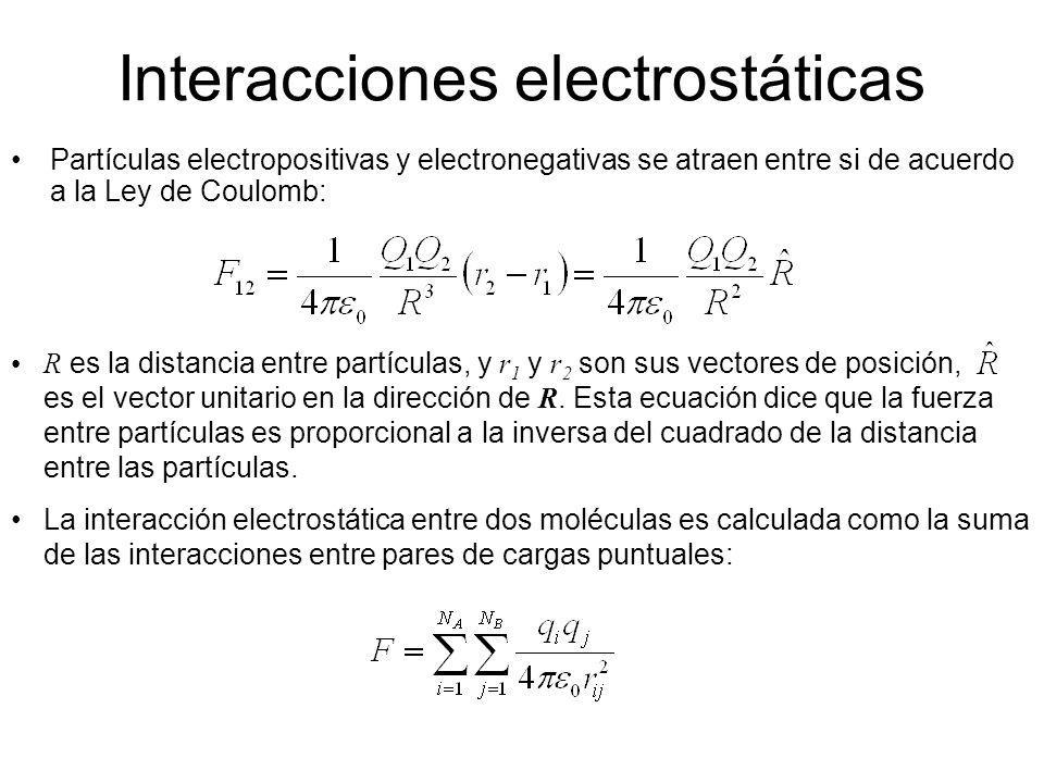 Interacciones electrostáticas Partículas electropositivas y electronegativas se atraen entre si de acuerdo a la Ley de Coulomb: R es la distancia entr