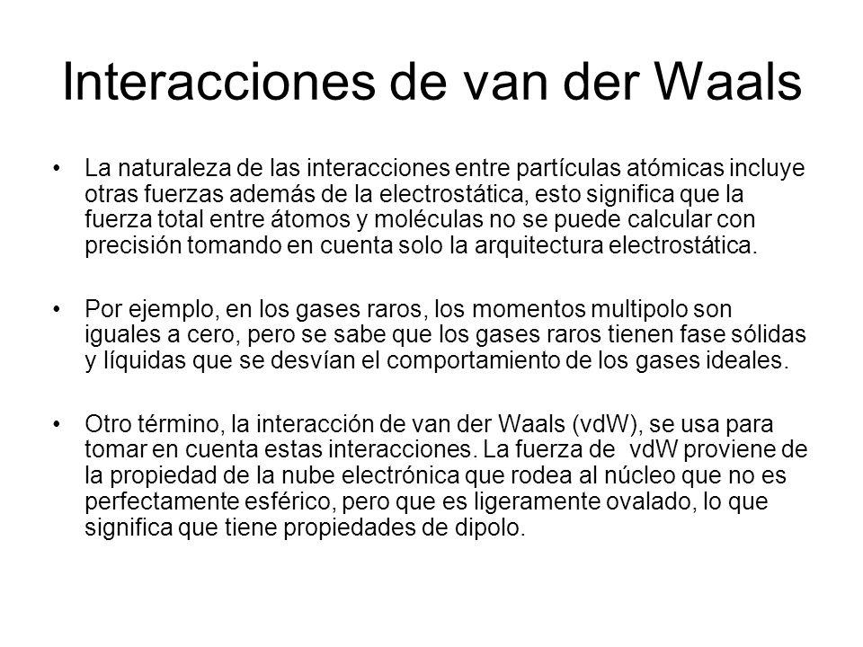 Interacciones de van der Waals La naturaleza de las interacciones entre partículas atómicas incluye otras fuerzas además de la electrostática, esto si