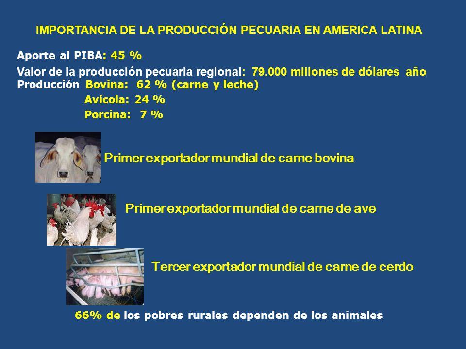 Primer exportador mundial de carne bovina Primer exportador mundial de carne de ave Tercer exportador mundial de carne de cerdo Aporte al PIBA: 45 % V