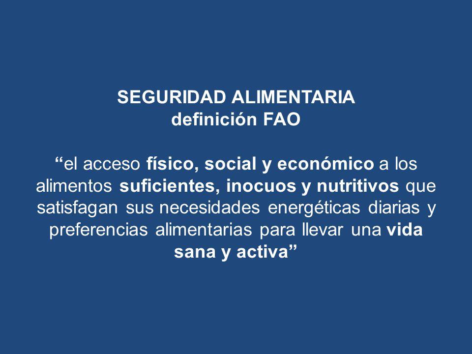 SEGURIDAD ALIMENTARIA definición FAOel acceso físico, social y económico a los alimentos suficientes, inocuos y nutritivos que satisfagan sus necesida