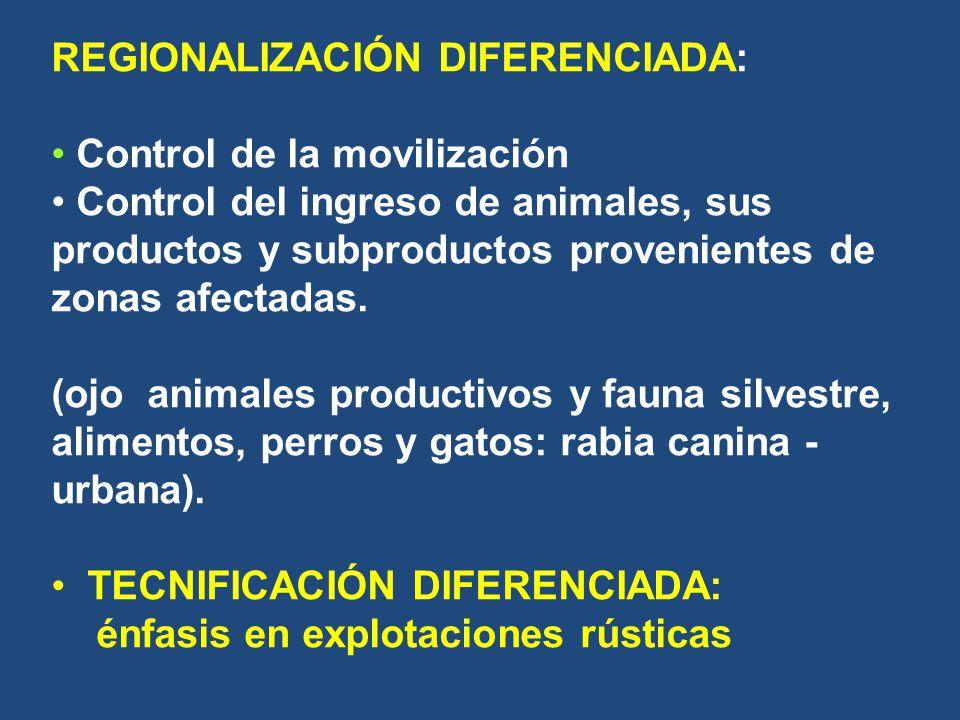 REGIONALIZACIÓN DIFERENCIADA: Control de la movilización Control del ingreso de animales, sus productos y subproductos provenientes de zonas afectadas