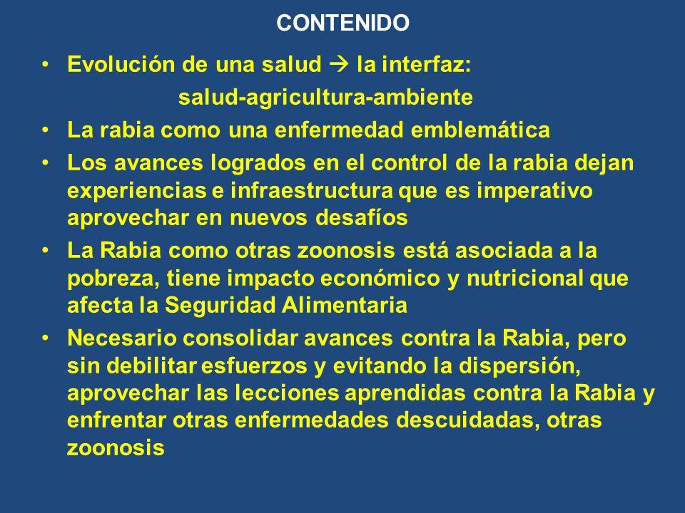 LA RABIA Zoonosis emblemática Control efectivo sólo en forma multidisciplinaria, intersectorial, sistémica HUMANA Y ANIMAL HA ACAPARADO RECURSOS PUES SE HA COMBATIDO EN FORMA DIRECTA, ÚNICA