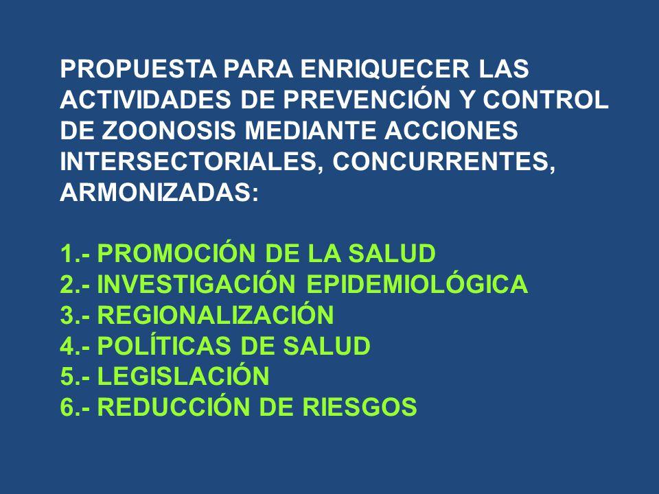 PROPUESTA PARA ENRIQUECER LAS ACTIVIDADES DE PREVENCIÓN Y CONTROL DE ZOONOSIS MEDIANTE ACCIONES INTERSECTORIALES, CONCURRENTES, ARMONIZADAS: 1.- PROMO