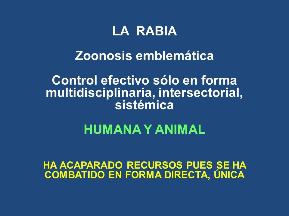LA RABIA Zoonosis emblemática Control efectivo sólo en forma multidisciplinaria, intersectorial, sistémica HUMANA Y ANIMAL HA ACAPARADO RECURSOS PUES